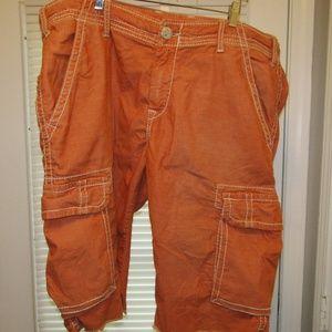 True Religion Shorts Stretch Orange White 42